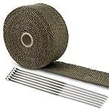 LIHAO Hitzeschutzband Basaltfaser Auspuffband 10M mit Kabelbinder für...